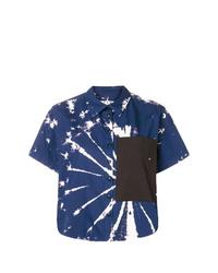 Chemise boutonnée à manches courtes imprimée tie-dye bleu marine et blanc Proenza Schouler