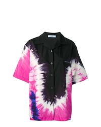 Chemise boutonnée à manches courtes imprimée tie-dye noire Prada