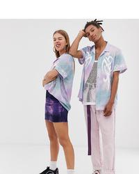 Chemise boutonnée à manches courtes imprimée tie-dye violet clair Collusion