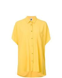 Chemise boutonnée à manches courtes jaune