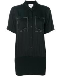 Chemise boutonnée à manches courtes noire DKNY