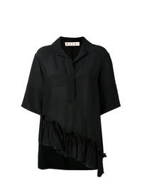 Chemise boutonnée à manches courtes noire Marni