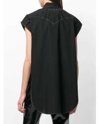 Chemise boutonnée à manches courtes noire MM6 MAISON MARGIELA
