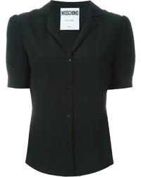 Chemise boutonnée à manches courtes noire Moschino