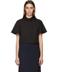 Chemise boutonnée à manches courtes noire Proenza Schouler