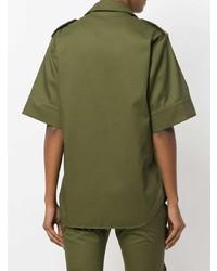 Chemise boutonnée à manches courtes olive MARQUES ALMEIDA