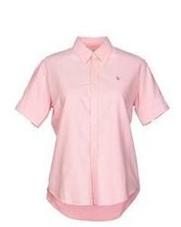 Chemise boutonnée à manches courtes rose