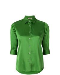 Chemise boutonnée à manches courtes verte Blanca