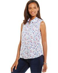 Chemise boutonnée sans manches à fleurs blanche