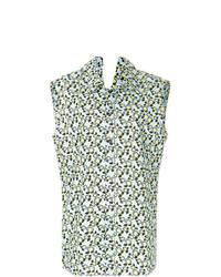 Chemise boutonnée sans manches à fleurs bleu clair Marni