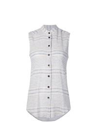 Chemise boutonnée sans manches à rayures horizontales blanche Rachel Comey