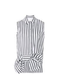 Chemise boutonnée sans manches à rayures verticales blanche et noire Victoria Victoria Beckham