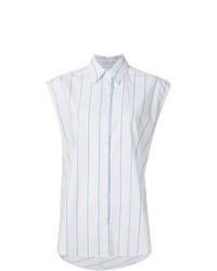 Chemise boutonnée sans manches à rayures verticales blanche