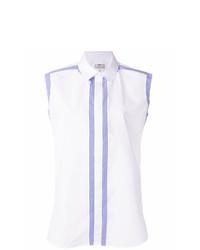 Chemise boutonnée sans manches à rayures verticales blanche Maison Margiela