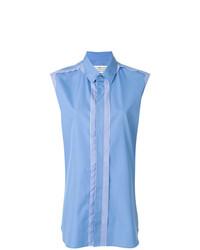 Chemise boutonnée sans manches à rayures verticales bleu clair Maison Margiela