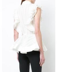 Chemise boutonnée sans manches à volants blanche Antonio Berardi