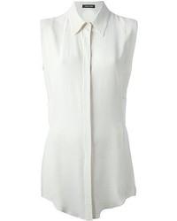 Chemise boutonnée sans manches blanche
