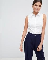 Chemise boutonnée sans manches blanche ASOS DESIGN