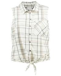Chemise boutonnée sans manches blanche Junarose