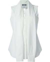 Chemise boutonnée sans manches blanche Moschino
