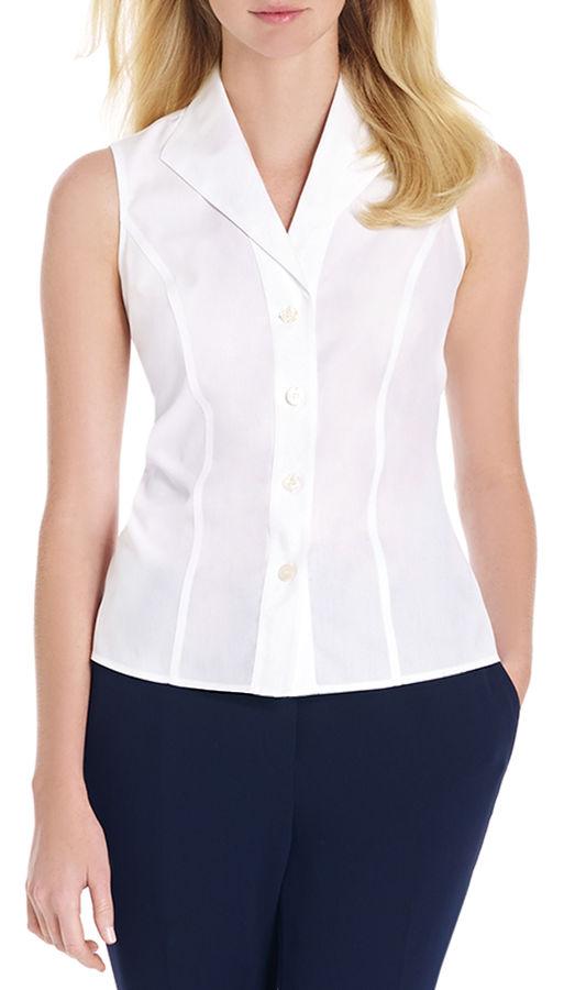 Chemise boutonnée sans manches blanche Jones New York