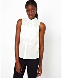 Chemise boutonnée sans manches blanche Vero Moda