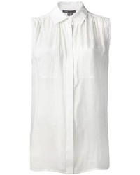Chemise boutonnée sans manches blanche Vince
