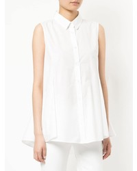 Chemise boutonnée sans manches blanche White Story