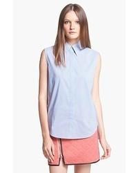 Chemise boutonnée sans manches bleu clair