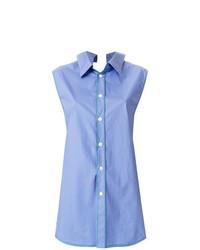 Chemise boutonnée sans manches bleu clair Marni