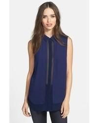 Chemise boutonnée sans manches bleu marine