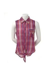 Chemise boutonnée sans manches écossaise pourpre
