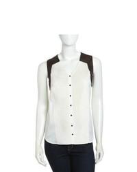 Chemise boutonnée sans manches en chiffon blanche et noire