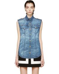 Chemise boutonnée sans manches en denim bleue Balmain