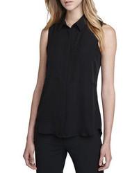 Chemise boutonnée sans manches en soie noire