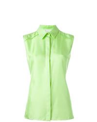 Chemise boutonnée sans manches vert menthe Maison Margiela