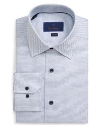 Chemise de ville à carreaux blanc et bleu marine