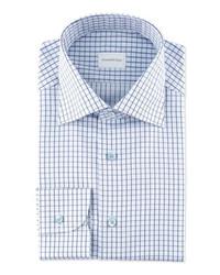 Chemise de ville à carreaux blanc et bleu