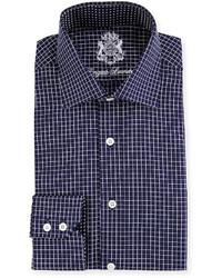 Chemise de ville à carreaux bleu marine
