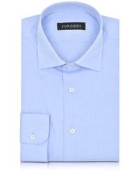 Chemise de ville à carreaux bleue claire