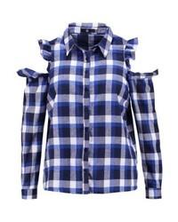 Chemise de ville à carreaux bleue marine Missguided