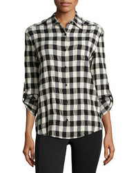 Chemise de ville à carreaux noire et blanche