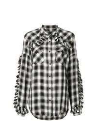 Chemise de ville à carreaux noire et blanche Forte Dei Marmi Couture