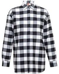 Chemise de ville à carreaux noire et blanche MSGM
