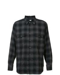 Chemise de ville à carreaux noire Saint Laurent