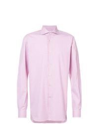 Chemise de ville à carreaux rose Kiton