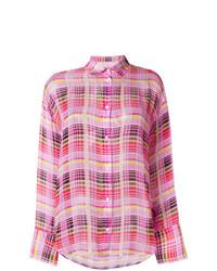 Chemise de ville à carreaux rose MSGM