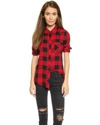 Chemise de ville à carreaux rouge et noir