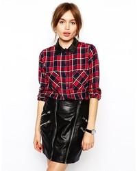 Chemise de ville à carreaux rouge et noir Asos