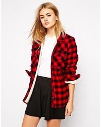 Chemise de ville à carreaux rouge et noir Only